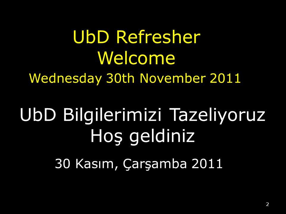 UbD Refresher Welcome Wednesday 30th November 2011 2 UbD Bilgilerimizi Tazeliyoruz Hoş geldiniz 30 Kasım, Çarşamba 2011