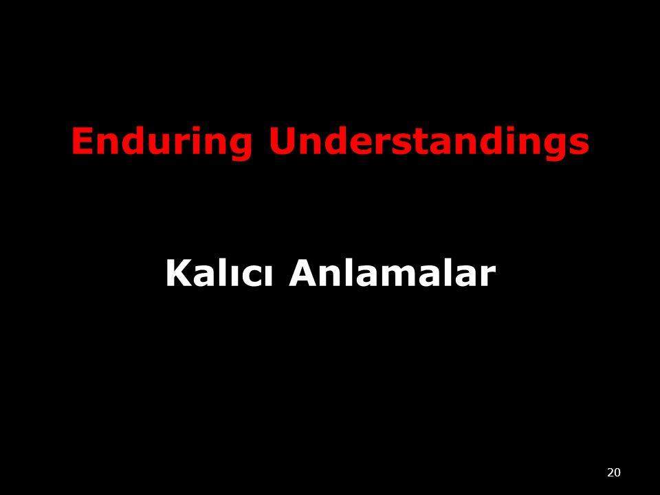 Enduring Understandings Kalıcı Anlamalar 20