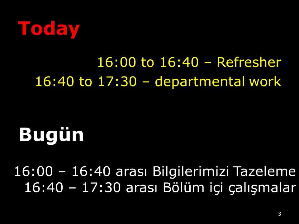 Today 16:00 to 16:40 – Refresher 16:40 to 17:30 – departmental work 3 Bugün 16:00 – 16:40 arası Bilgilerimizi Tazeleme 16:40 – 17:30 arası Bölüm içi çalışmalar
