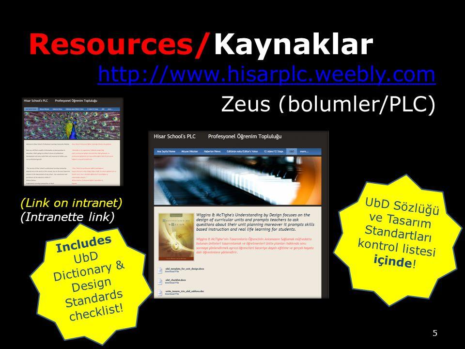 Resources/Kaynaklar http://www.hisarplc.weebly.com Zeus (bolumler/PLC) (Link on intranet) (Intranette link) Includes UbD Dictionary & Design Standards checklist.