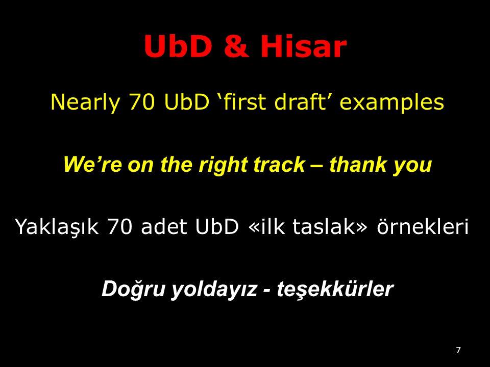 UbD & Hisar Nearly 70 UbD 'first draft' examples We're on the right track – thank you Yaklaşık 70 adet UbD «ilk taslak» örnekleri Doğru yoldayız - teşekkürler 7