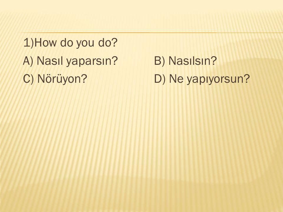 1)How do you do? A) Nasıl yaparsın?B) Nasılsın? C) Nörüyon?D) Ne yapıyorsun?