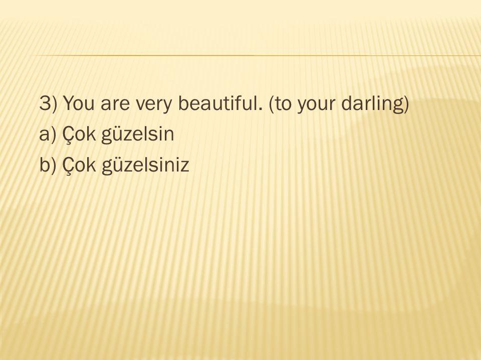 3) You are very beautiful. (to your darling) a) Çok güzelsin b) Çok güzelsiniz