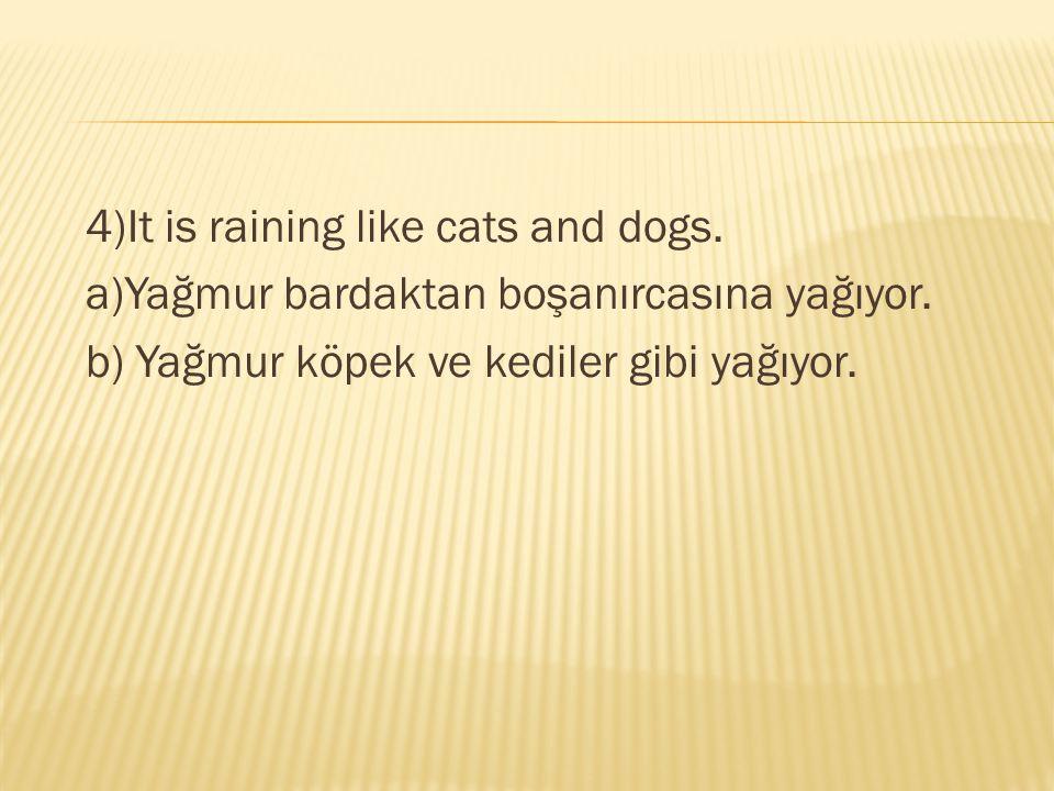 4)It is raining like cats and dogs. a)Yağmur bardaktan boşanırcasına yağıyor. b) Yağmur köpek ve kediler gibi yağıyor.