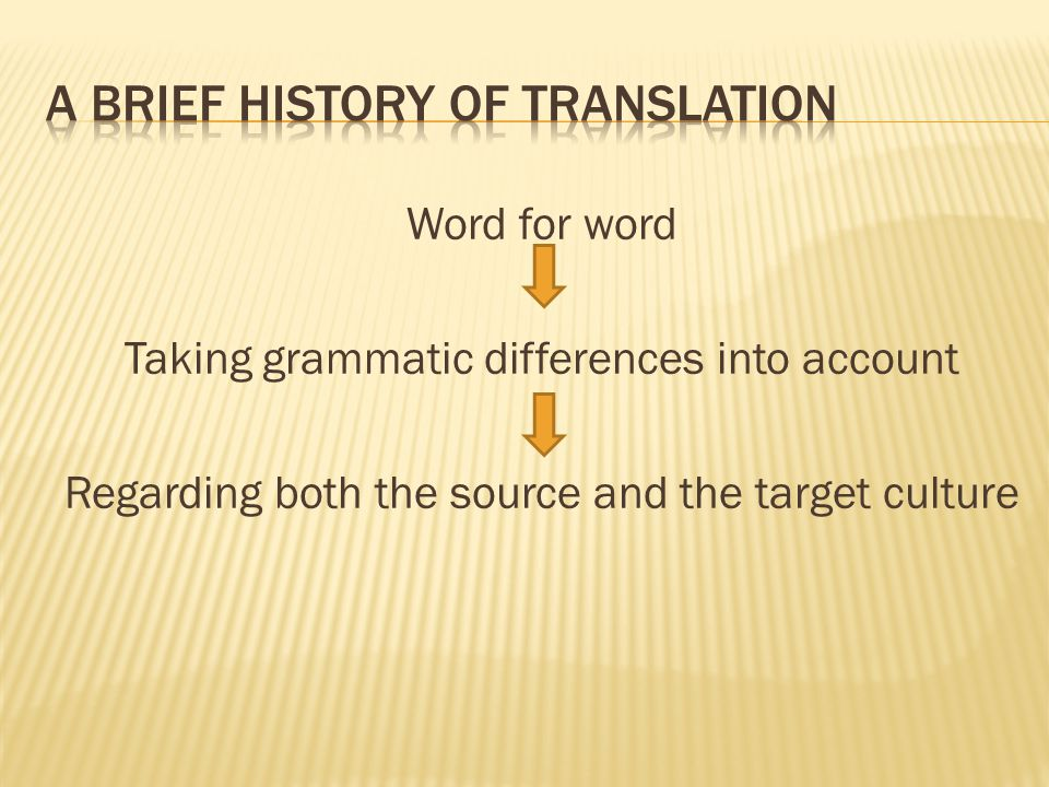 Word for word Taking grammatic differences into account Regarding both the source and the target culture