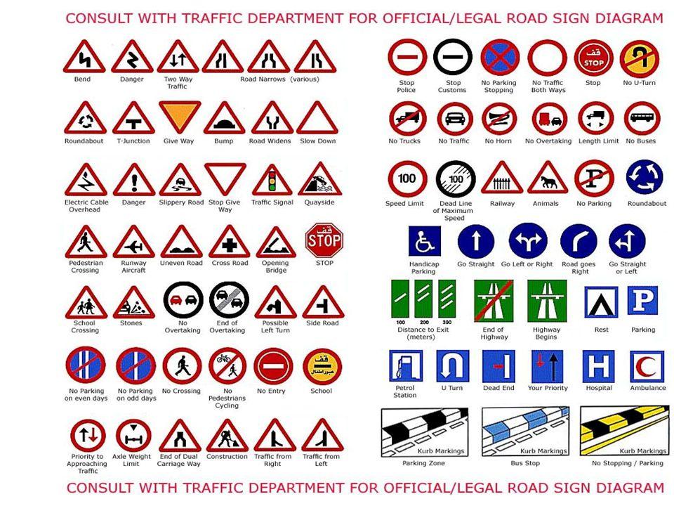 Danger : Turn Right : Turn Left : Traffic Police : Traffic Lights : Maximum Speed Limit 60 : One-way : Hidden icing : Douane : Pedestrian crossing : Way to school :