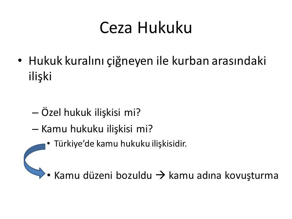 Ceza Hukuku Hukuk kuralını çiğneyen ile kurban arasındaki ilişki – Özel hukuk ilişkisi mi? – Kamu hukuku ilişkisi mi? Türkiye'de kamu hukuku ilişkisid