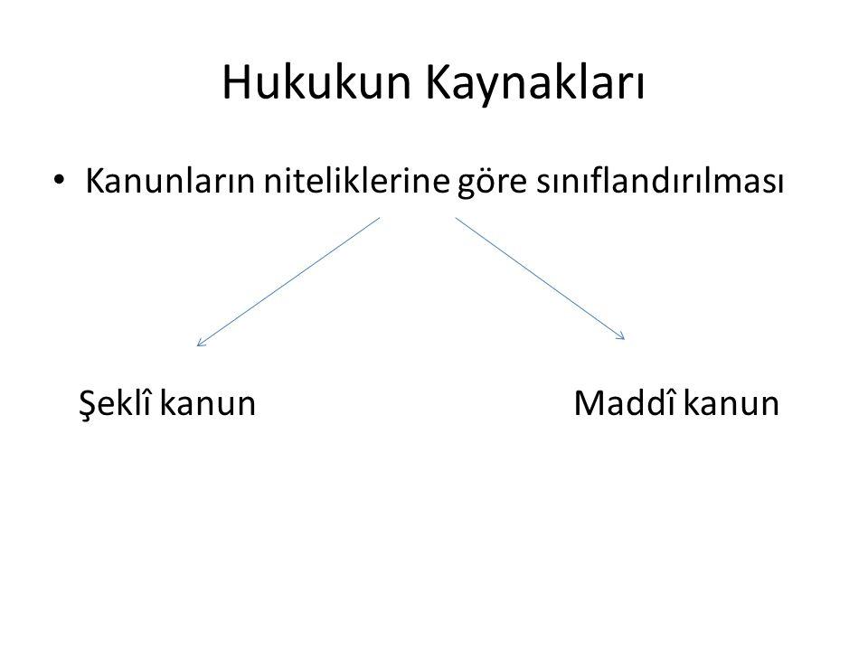 Hukukun Kaynakları Kanunların niteliklerine göre sınıflandırılması Şeklî kanunMaddî kanun