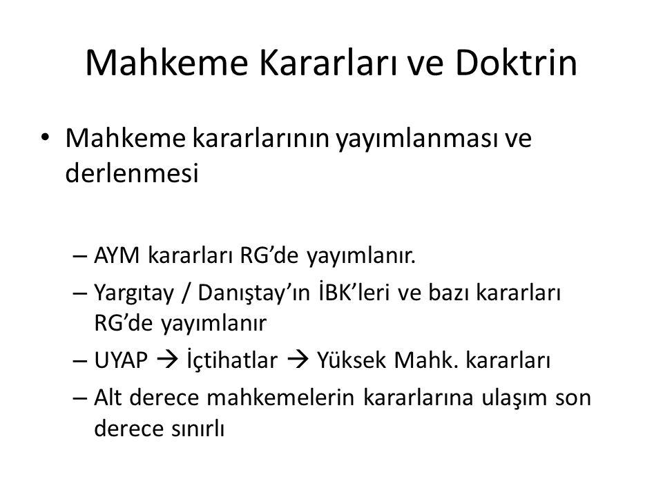 Mahkeme Kararları ve Doktrin Mahkeme kararlarının yayımlanması ve derlenmesi – AYM kararları RG'de yayımlanır. – Yargıtay / Danıştay'ın İBK'leri ve ba