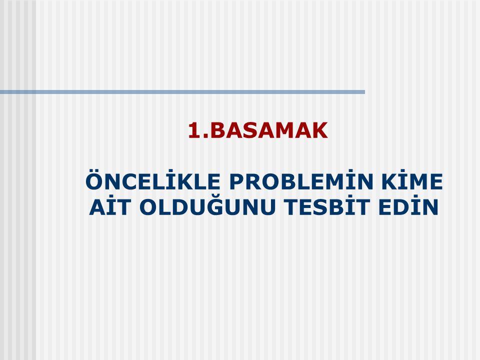 1.BASAMAK ÖNCELİKLE PROBLEMİN KİME AİT OLDUĞUNU TESBİT EDİN