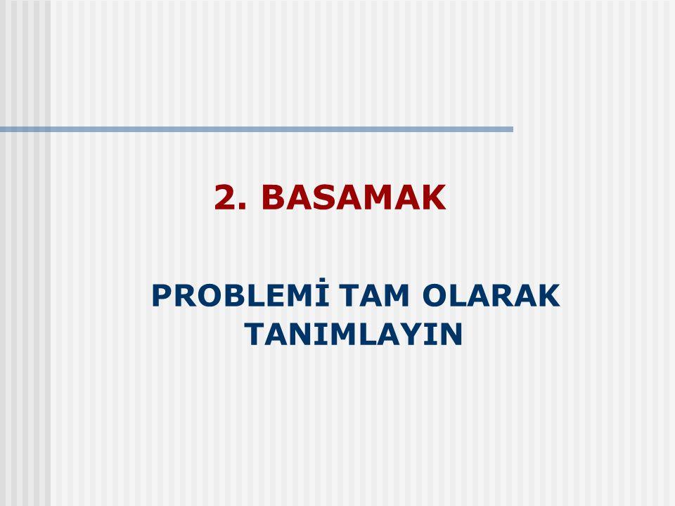 2. BASAMAK PROBLEMİ TAM OLARAK TANIMLAYIN