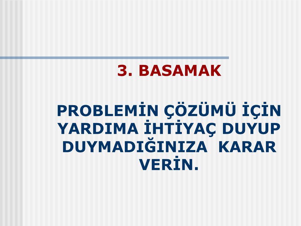 3. BASAMAK PROBLEMİN ÇÖZÜMÜ İÇİN YARDIMA İHTİYAÇ DUYUP DUYMADIĞINIZA KARAR VERİN.
