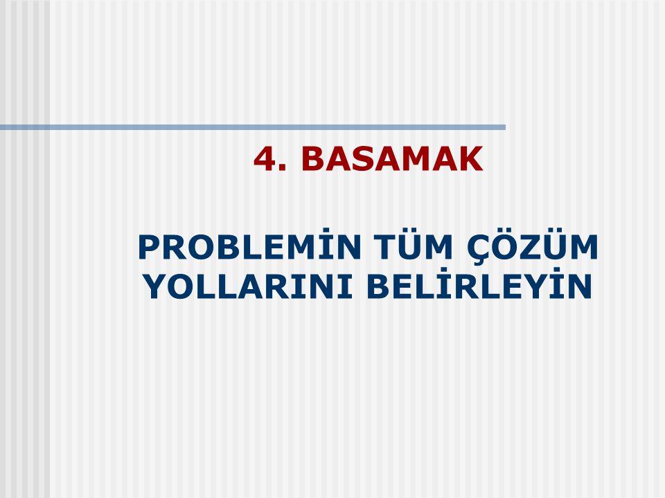 4. BASAMAK PROBLEMİN TÜM ÇÖZÜM YOLLARINI BELİRLEYİN