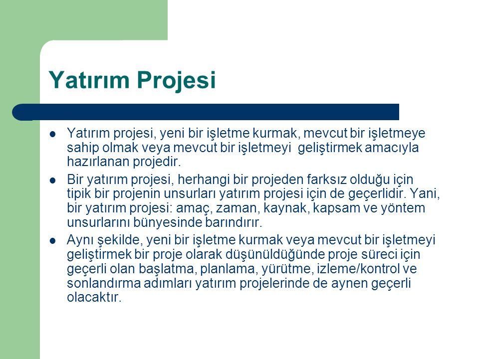 Yatırım Projesi Yatırım projesi, yeni bir işletme kurmak, mevcut bir işletmeye sahip olmak veya mevcut bir işletmeyi geliştirmek amacıyla hazırlanan projedir.