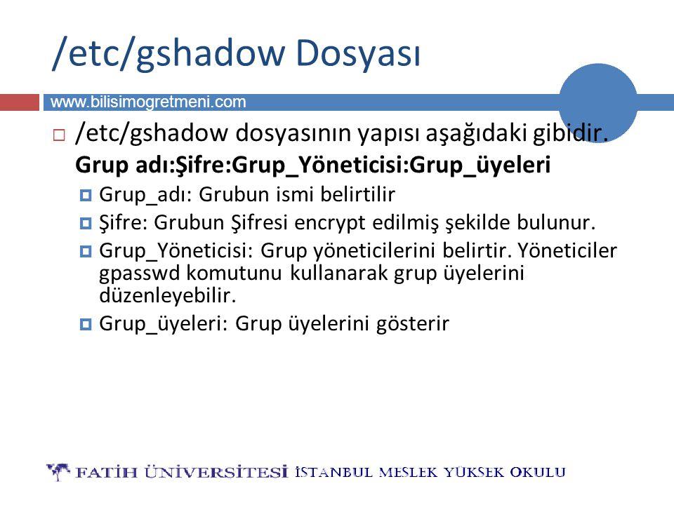 BİLG 223 www.bilisimogretmeni.com /etc/gshadow Dosyası  /etc/gshadow dosyasının yapısı aşağıdaki gibidir.
