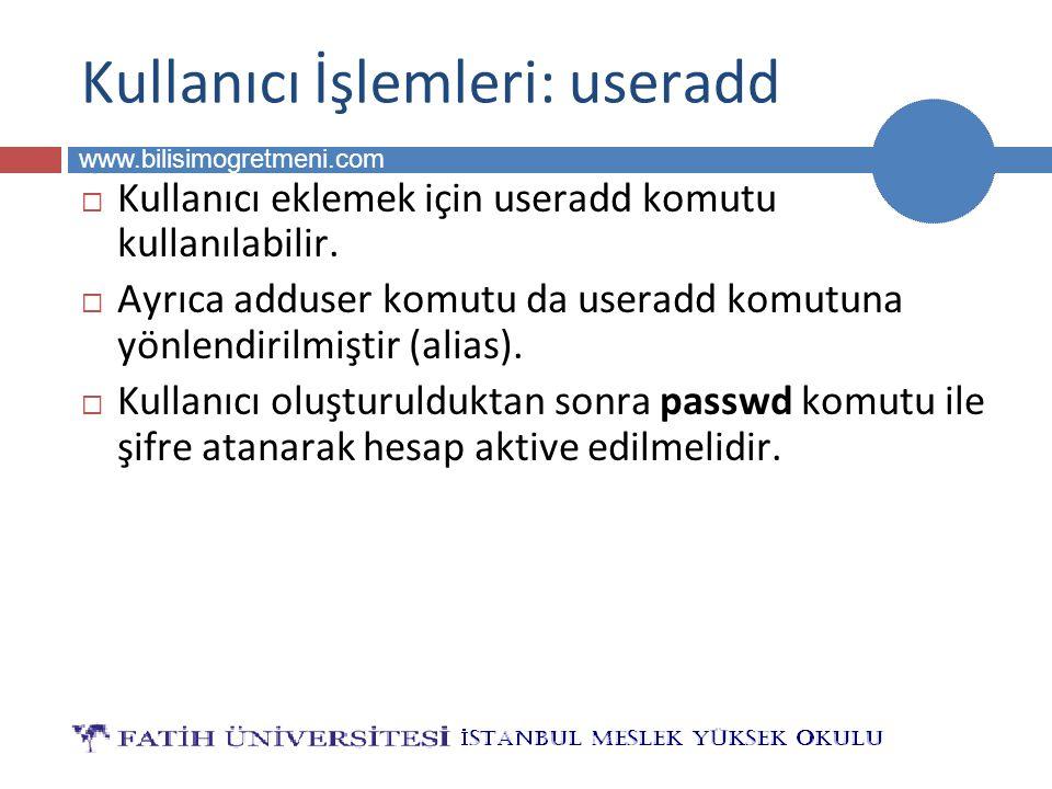 BİLG 223 www.bilisimogretmeni.com Kullanıcı İşlemleri: useradd  Kullanıcı eklemek için useradd komutu kullanılabilir.