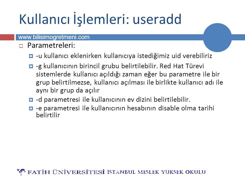 BİLG 223 www.bilisimogretmeni.com Kullanıcı İşlemleri: useradd  Parametreleri:  -u kullanıcı eklenirken kullanıcıya istediğimiz uid verebiliriz  -g kullanıcının birincil grubu belirtilebilir.