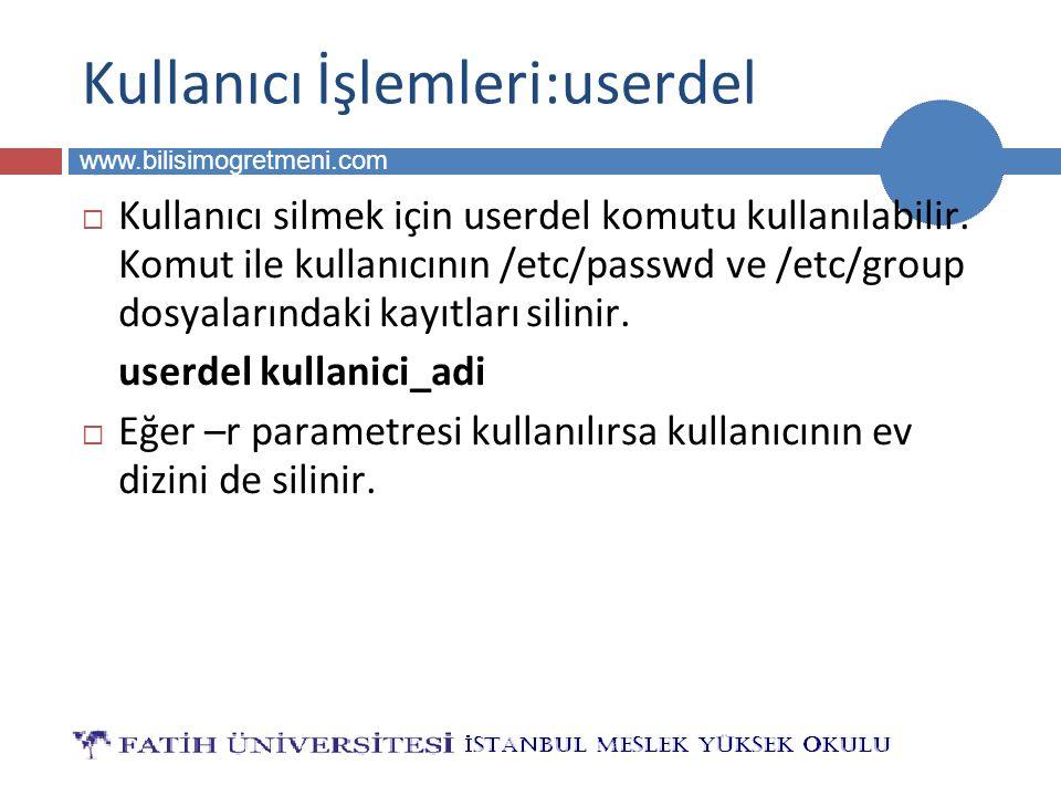BİLG 223 www.bilisimogretmeni.com Kullanıcı İşlemleri:userdel  Kullanıcı silmek için userdel komutu kullanılabilir.