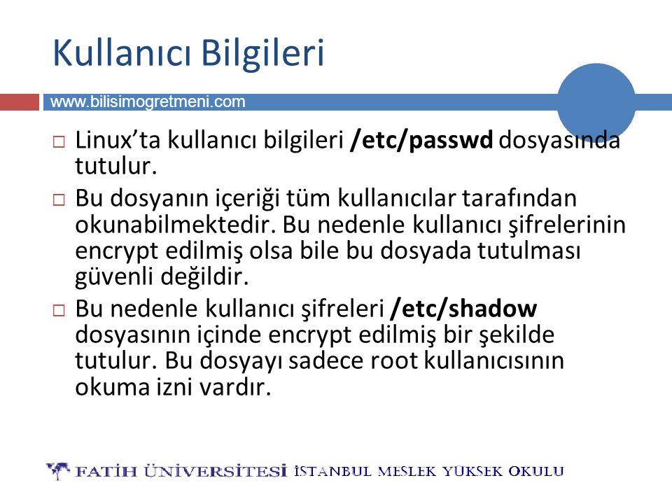 BİLG 223 www.bilisimogretmeni.com  Linux'ta kullanıcı bilgileri /etc/passwd dosyasında tutulur.