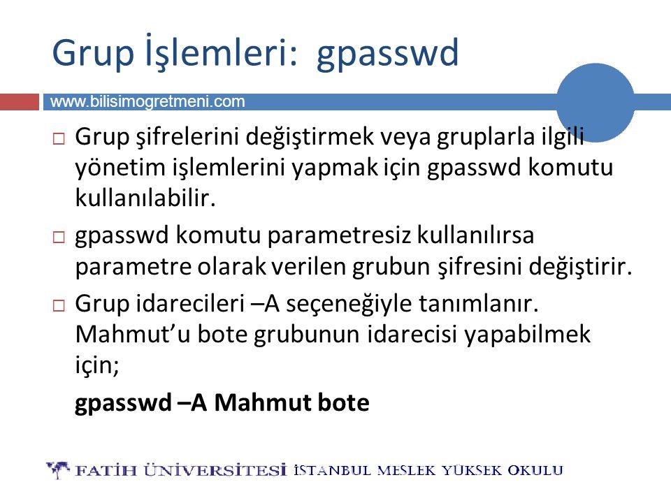 BİLG 223 www.bilisimogretmeni.com Grup İşlemleri: gpasswd  Grup şifrelerini değiştirmek veya gruplarla ilgili yönetim işlemlerini yapmak için gpasswd komutu kullanılabilir.