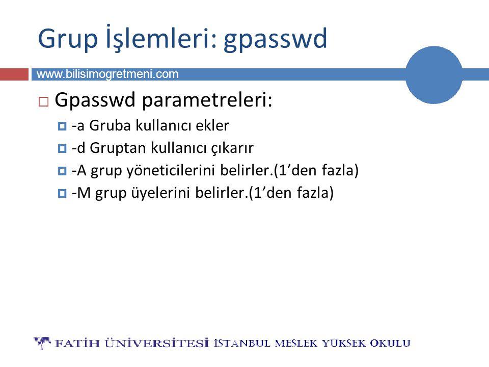 BİLG 223 www.bilisimogretmeni.com Grup İşlemleri: gpasswd  Gpasswd parametreleri:  -a Gruba kullanıcı ekler  -d Gruptan kullanıcı çıkarır  -A grup yöneticilerini belirler.(1'den fazla)  -M grup üyelerini belirler.(1'den fazla)