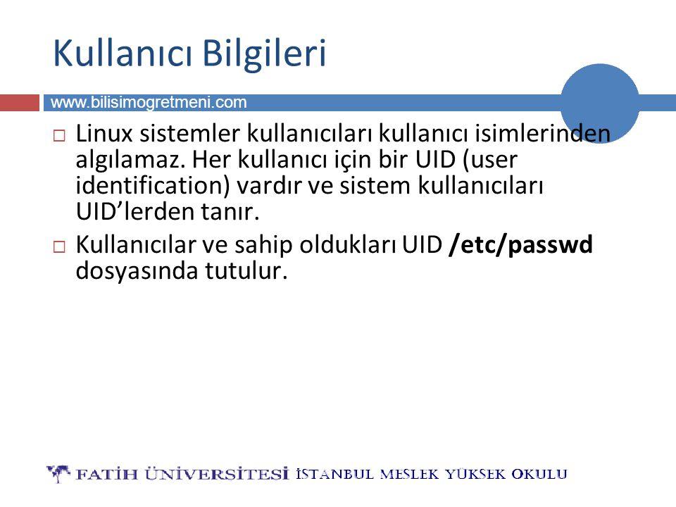 BİLG 223 www.bilisimogretmeni.com Kullanıcı Bilgileri  Linux sistemler kullanıcıları kullanıcı isimlerinden algılamaz.