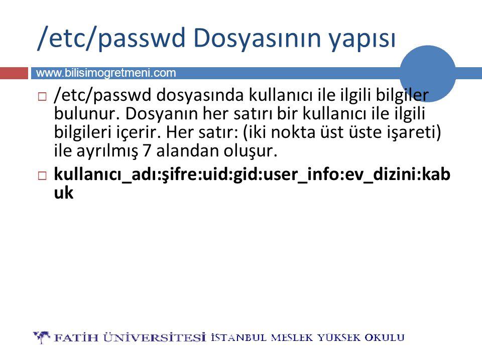 BİLG 223 www.bilisimogretmeni.com /etc/passwd Dosyasının yapısı  /etc/passwd dosyasında kullanıcı ile ilgili bilgiler bulunur.