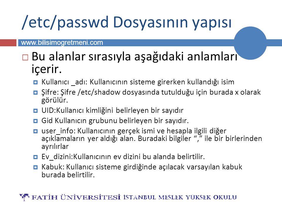 BİLG 223 www.bilisimogretmeni.com /etc/passwd Dosyasının yapısı  Bu alanlar sırasıyla aşağıdaki anlamları içerir.