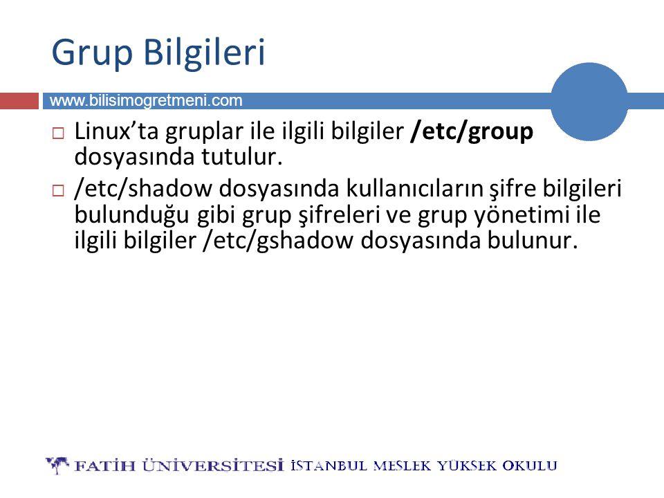 BİLG 223 www.bilisimogretmeni.com Grup Bilgileri  Linux'ta gruplar ile ilgili bilgiler /etc/group dosyasında tutulur.