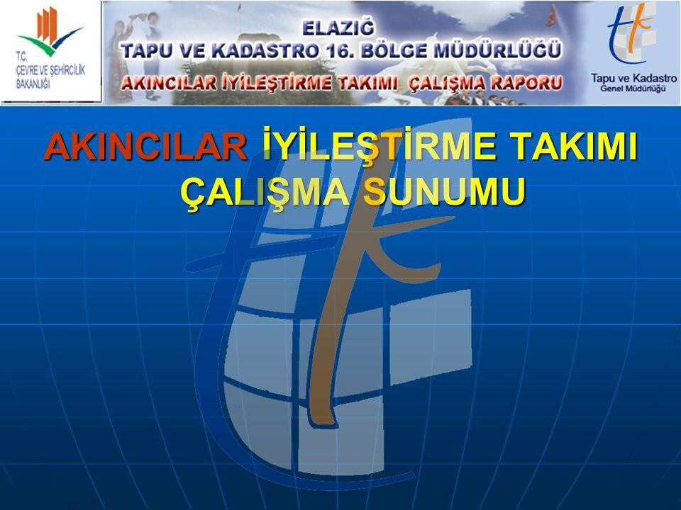 Çalışmanın Yapıldığı B ölge Müdürlüğü : ELAZIĞ TAPU VE KADASTRO 16.