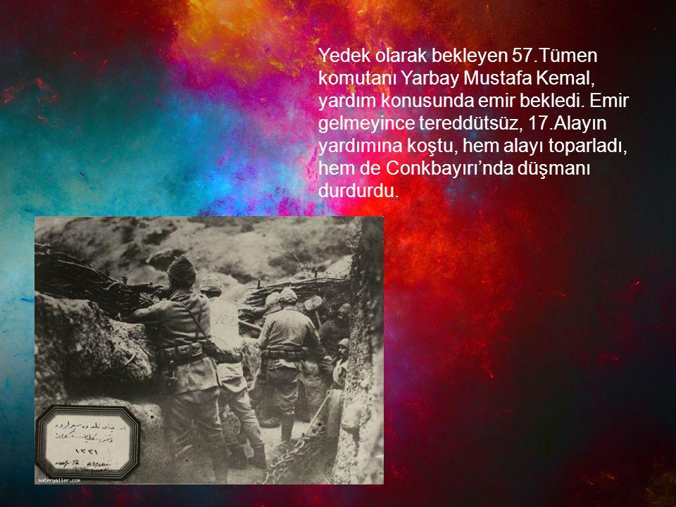 Yedek olarak bekleyen 57.Tümen komutanı Yarbay Mustafa Kemal, yardım konusunda emir bekledi. Emir gelmeyince tereddütsüz, 17.Alayın yardımına koştu, h
