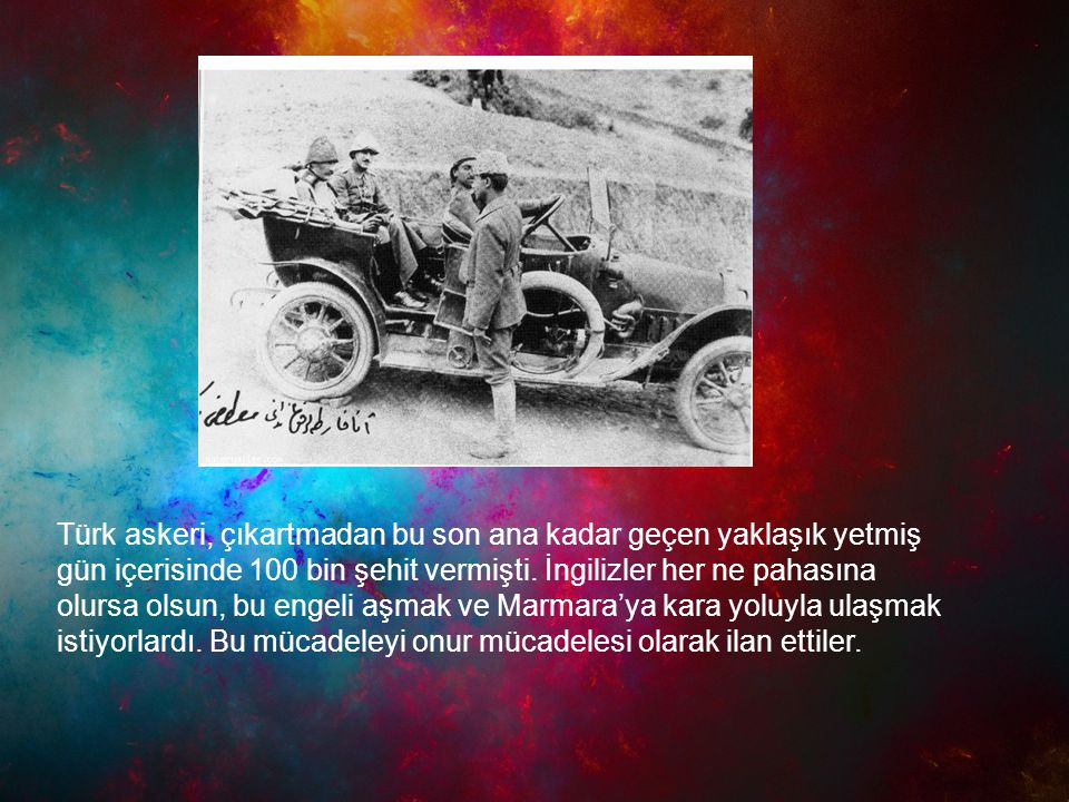 Türk askeri, çıkartmadan bu son ana kadar geçen yaklaşık yetmiş gün içerisinde 100 bin şehit vermişti. İngilizler her ne pahasına olursa olsun, bu eng