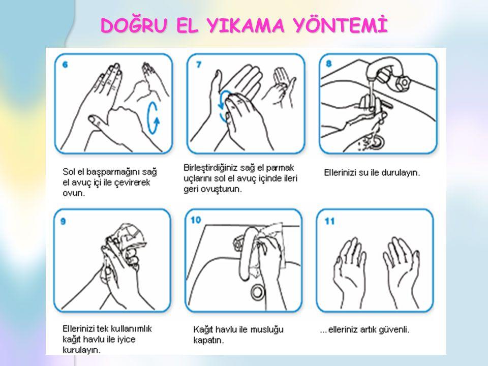EL HİJYENİ Ellerinizi yıkadıktan sonra, tek kullanımlık kâğıt havlu ile kurulayıp, musluğu bu havlu ile kapatınız Havluyu çöp kutusuna atınız