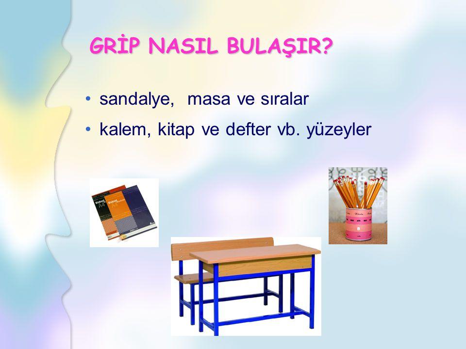sandalye, masa ve sıralar kalem, kitap ve defter vb. yüzeyler GRİP NASIL BULAŞIR?