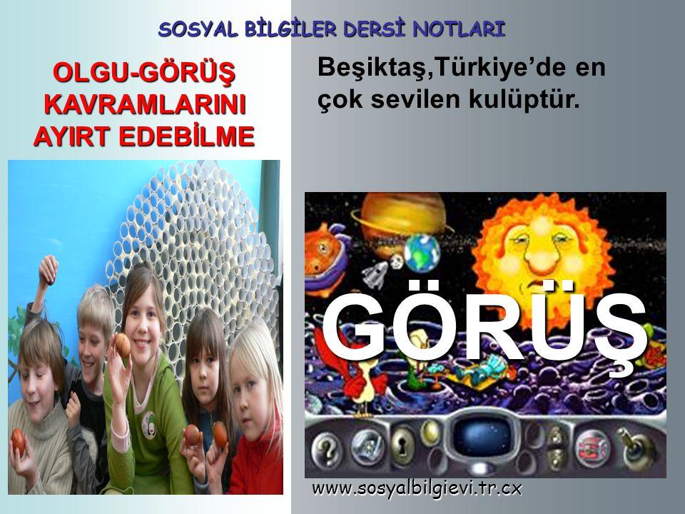 www.sosyalbilgievi.tr.cx SOSYAL BİLGİLER DERSİ NOTLARI OLGU-GÖRÜŞ KAVRAMLARINI AYIRT EDEBİLME Beşiktaş,Türkiye'de en çok sevilen kulüptür.