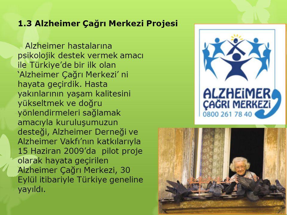 1.3 Alzheimer Çağrı Merkezi Projesi Alzheimer hastalarına psikolojik destek vermek amacı ile Türkiye'de bir ilk olan 'Alzheimer Çağrı Merkezi' ni haya