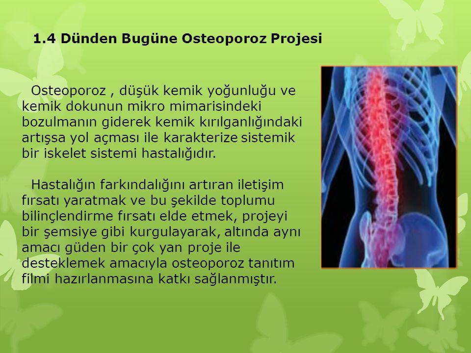 1.4 Dünden Bugüne Osteoporoz Projesi Osteoporoz, düşük kemik yoğunluğu ve kemik dokunun mikro mimarisindeki bozulmanın giderek kemik kırılganlığındaki