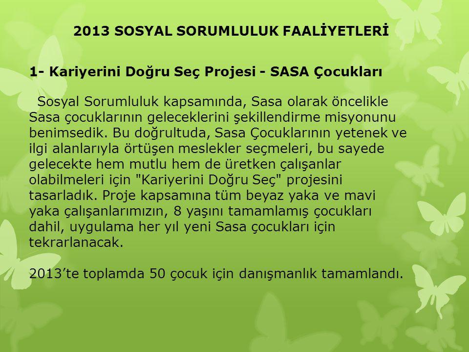 2013 SOSYAL SORUMLULUK FAALİYETLERİ 1- Kariyerini Doğru Seç Projesi - SASA Çocukları Sosyal Sorumluluk kapsamında, Sasa olarak öncelikle Sasa çocuklar