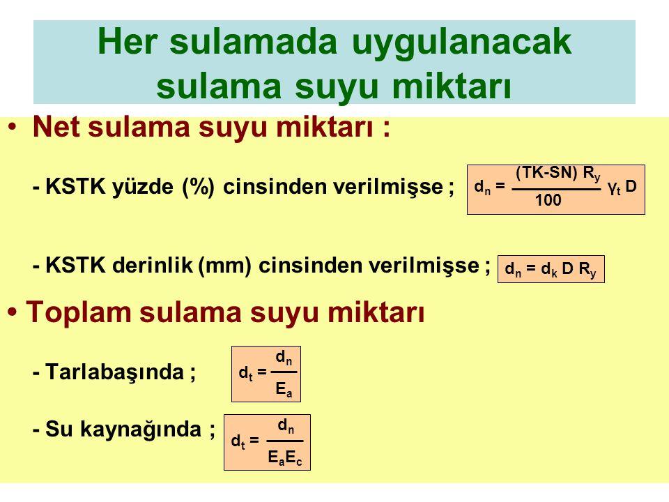 Sulama aralığı Sistem kapasitesi d n SA = ET A d t Q = 3.6 T Q= Sulama modülü, L/s/ha.