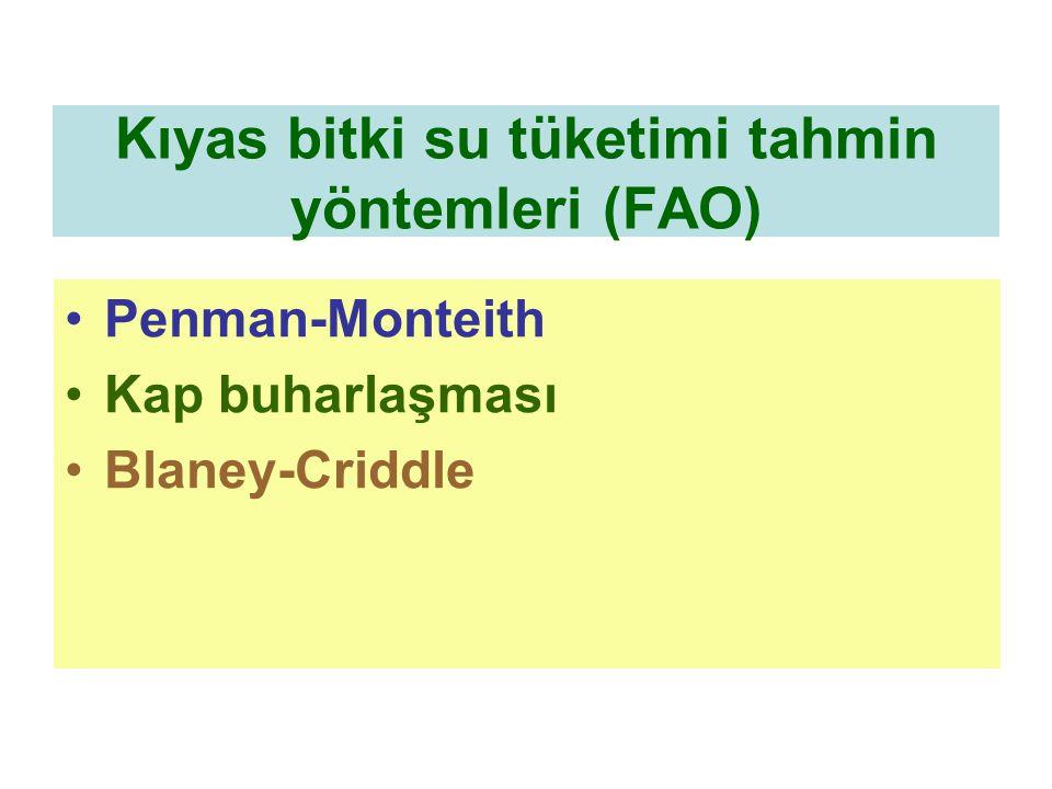 Kıyas bitki su tüketimi tahmin yöntemleri (FAO) Penman-Monteith Kap buharlaşması Blaney-Criddle