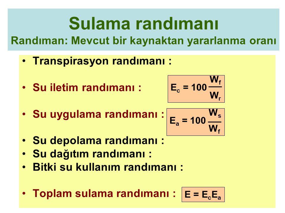 Sulama randımanı Randıman: Mevcut bir kaynaktan yararlanma oranı Transpirasyon randımanı : Su iletim randımanı : Su uygulama randımanı : Su depolama r