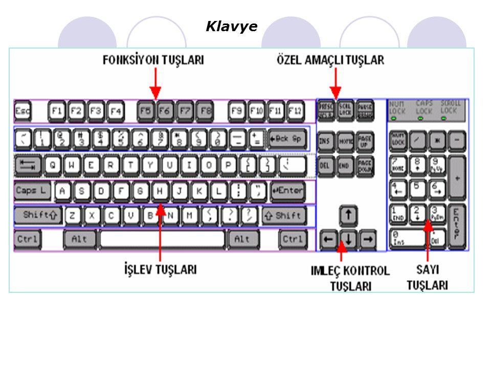 KLAVYE Bilgi girişi yapılan en yaygın girdi aygıtıdır. Klavye düğme sıralanışına göre: a)F klavye:Türkçe doküman yazanlar için uygundur.Daktilo ile ço