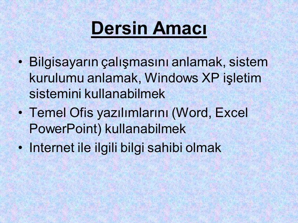 Dersin Amacı Bilgisayarın çalışmasını anlamak, sistem kurulumu anlamak, Windows XP işletim sistemini kullanabilmek Temel Ofis yazılımlarını (Word, Excel PowerPoint) kullanabilmek Internet ile ilgili bilgi sahibi olmak