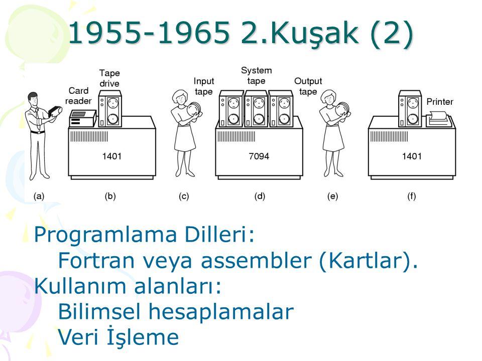 1955-1965 2.Kuşak Vakumlu tüplerin yerini transistörler aldı. Bilgisayarların hacimleri küçüldü, maliyeti düşürüldü ve hızları yükseldi. Bu tür bilgis