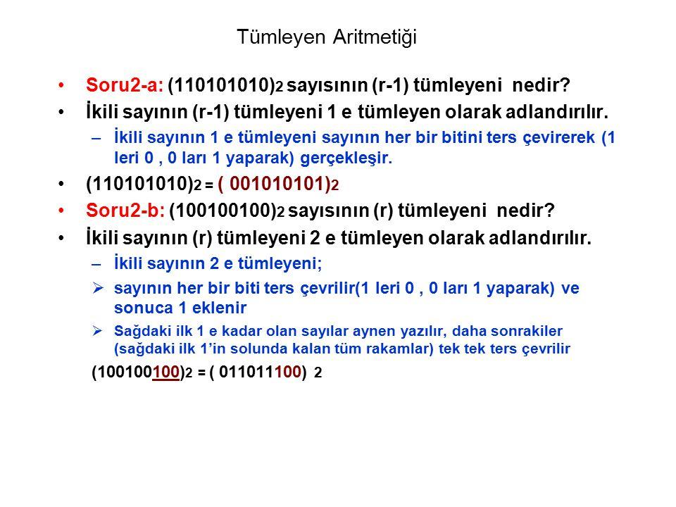 Tümleyen Aritmetiği Soru2-a: (110101010) 2 sayısının (r-1) tümleyeni nedir? İkili sayının (r-1) tümleyeni 1 e tümleyen olarak adlandırılır. –İkili say