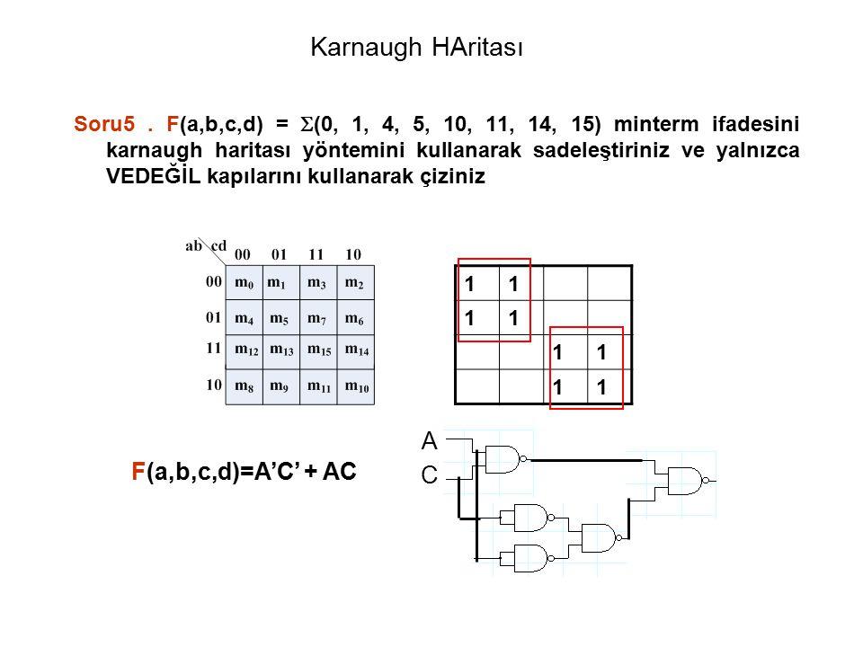 Karnaugh HAritası Soru5. F(a,b,c,d) =  (0, 1, 4, 5, 10, 11, 14, 15) minterm ifadesini karnaugh haritası yöntemini kullanarak sadeleştiriniz ve yalnız