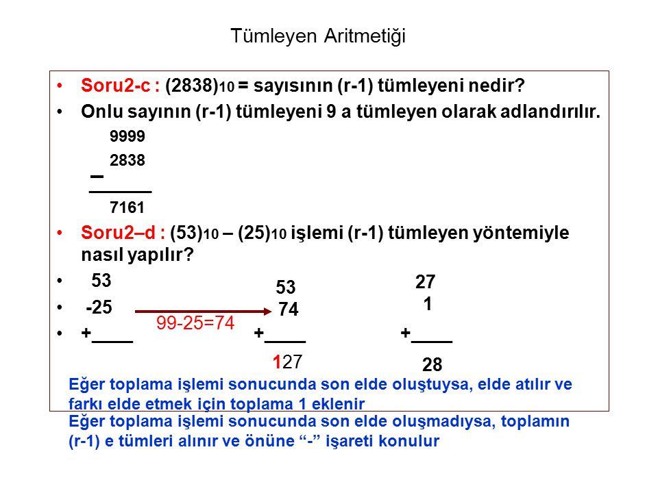 Tümleyen Aritmetiği Soru2-c : (2838) 10 = sayısının (r-1) tümleyeni nedir? Onlu sayının (r-1) tümleyeni 9 a tümleyen olarak adlandırılır. 9999 2838 __