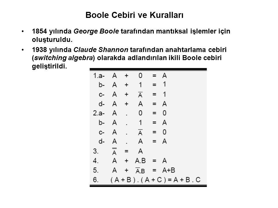 Boole Cebiri ve Kuralları 1854 yılında George Boole tarafından mantıksal işlemler için oluşturuldu. 1938 yılında Claude Shannon tarafından anahtarlama