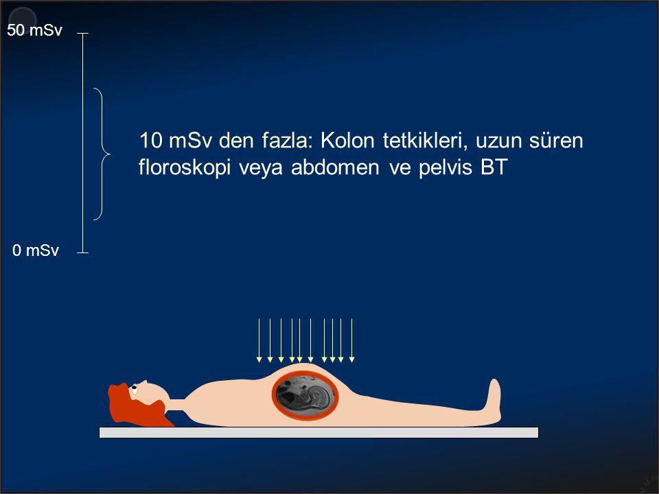 50 mSv 10 mSv den fazla: Kolon tetkikleri, uzun süren floroskopi veya abdomen ve pelvis BT 0 mSv