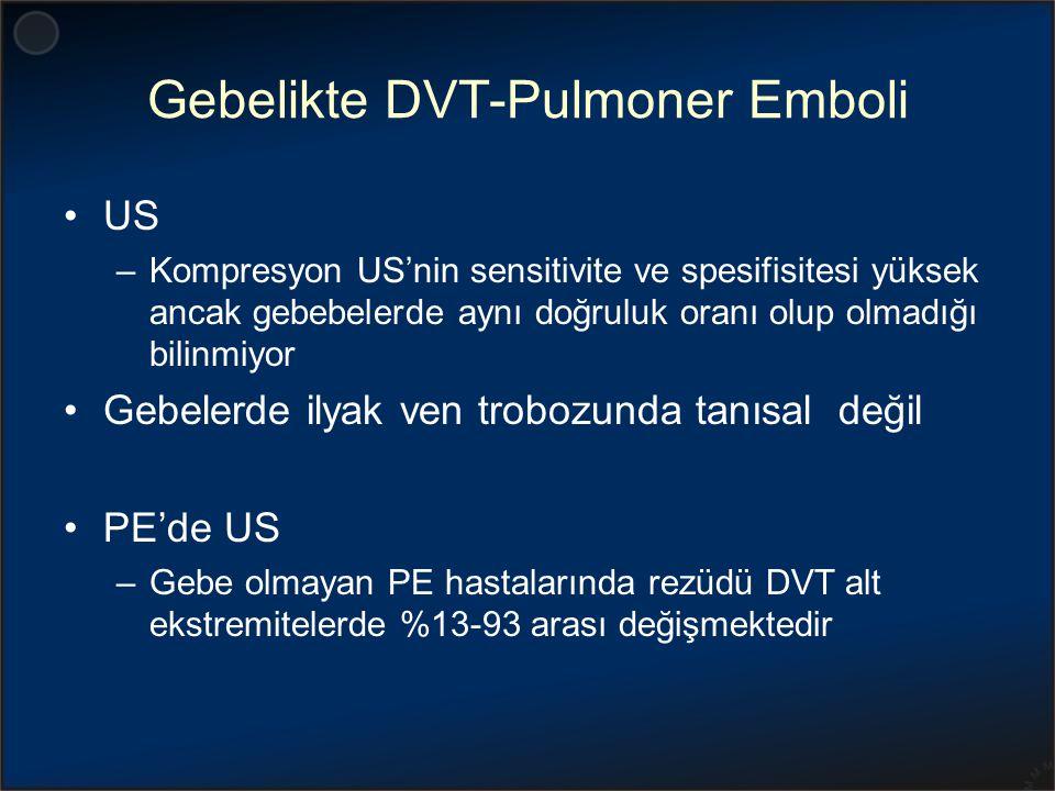Gebelikte DVT-Pulmoner Emboli US –Kompresyon US'nin sensitivite ve spesifisitesi yüksek ancak gebebelerde aynı doğruluk oranı olup olmadığı bilinmiyor